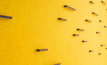 Akoestische wand - wolvilt - detail - kleurrijk - design - submaterial - horizontal bar - Filzfelt ENNAIR